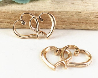 Heart Charms 10pcs Rose Gold Plated Double Heart Charm Pendants 21x31mm AC105-4