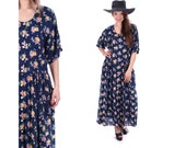 Navy Blue Floral Dress Maxi 90s GRUNGE Boho Button Up Pink 1990s Vintage Scoop Neck Short Sleeve Princess Seam Bohemian Medium Large