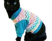 Cat Shirt Cat Clothes Teal Chevron Knit Cat Shirt pet clothing cat clothing pet clothes cat clothes