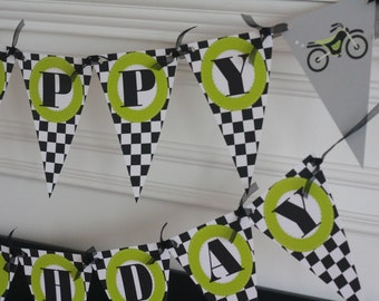 Happy Birthday Pennant Flag Checkered Flag Black Lime Green Motorcycle Motorcross Motor Bike Dirt Bike Theme Banner - Party Pack Specials