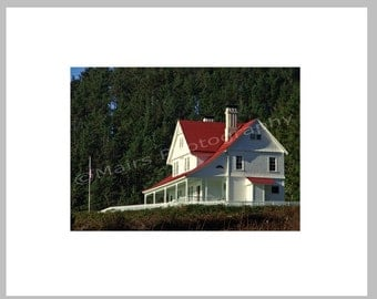 READY TO SHIP, Historic Lightkeepers' House Oregon Red & White Cottage Decor,  Fine Art Photography signed matted 5x7 Original Photograph