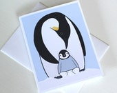 Penguin Baby Shower Card - New Baby Boy - New Baby Girl Card