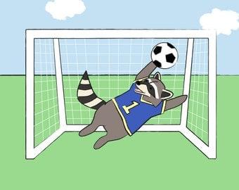Soccer Baby Nursery Art - Raccoon Sports Kids Wall Art