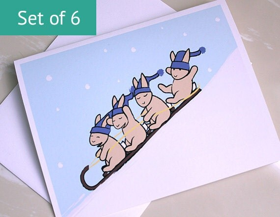 Rabbit Thank You Card - Sledding Bunny Notecards (Set of 6)