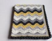 Retro Wool Crochet Yellow & Greys, Chevron Ripple Pattern Pram Cot Crib Nursery Car Blanket for boy or girl Ready to Ship