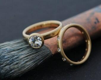 18K Gold Moissanite Wedding Set -18K Engagement Ring and Eternity Band Moissanite Engagement and Eternity Ring - Made to Order FREE SHIPPING