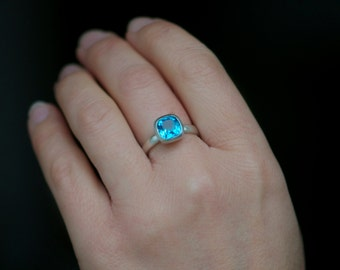 Blue Topaz Ring - Swiss Blue Topaz Ring set in Sterling Silver - Hand made Ring -Made to Order - FREE SHIPPING