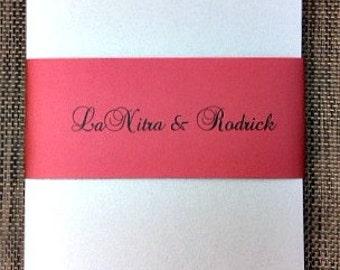 Trifold Silver and Burgundy Wedding Invitation