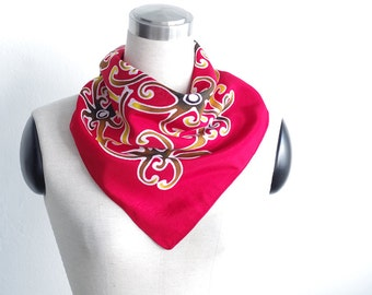Small square scarf hand painted red. Cotton anniversary neckerchief scarflette. Silk gift for women men. Summer neck scarves tribal artwork