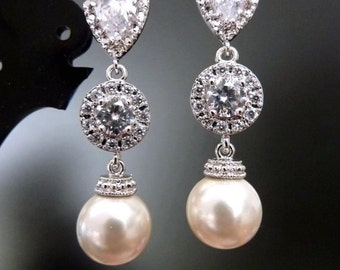 Wedding Earrings Bridal Earrings Cream Ivory Round Pearl with Halo Round CZ and White Gold Plated Cubic Zirocnia Post Earrings