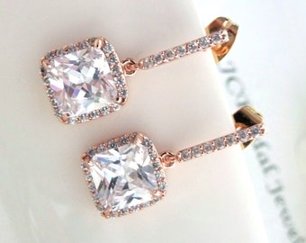 Wedding Earrings Bridal Earrings- Halo Clear Small White Square Cubic Zirconia with Rose Gold Plated CZ Earings