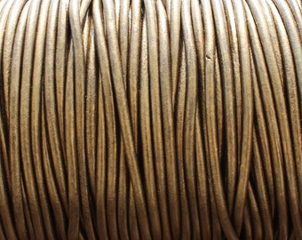 10 Yards 3mm Metallic Brown Leather Cord - Round Kansa