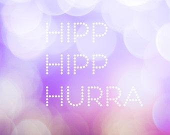 Birthday card in Swedish, gratulationskort, födelsedagskort, square, photo card, greeting card, abstract, bubbles, purple, lilac