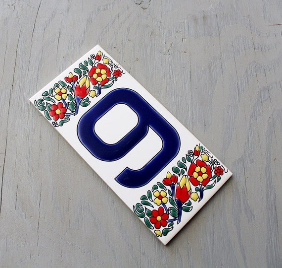 Vintage Ceramic House Number Tile Vintage Porcelain Number