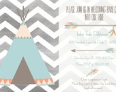 Indian Tribe Teepee Baby Welcoming Template 4X6