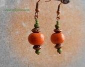 Orange Green Copper Boho Gypsy Dangle Earrings, Earthy Bohemian Jewelry, Ceramic Beads Earrings, Hypoallergenic earrings