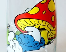Smurf Lazy 1982 Glasses Glass Vintage Peyo Wallace Drinking Hardees Berrie Smurfs Collector