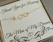 Mother of the groom gold infinity bracelet, 24K gold dipped sterling silver, Vermeil, 14K gold fill, simple infinity and pearl bracelet  MOG