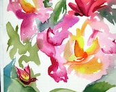 Rose Matters New waterfcolor on paper 10X14 inches Bright colorful painting 2015