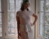 Peaches and Cream Crochet Lace Dress/1950s Vintage/Cocktail Party Peplum Dress/Size Medium