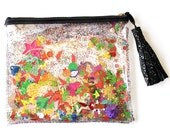 Small Rainbow Sequin and Glitter Plastic Clutch Handbag