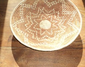 Vintage Southwestern Style Woven Basket in Rust and Tan Colored Straw with star shaped pattern design in Mint Condition