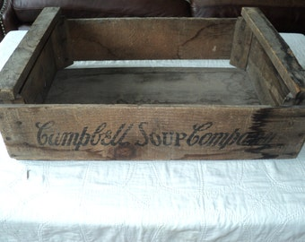 Antique Rustic Chic Old Weathered Wooden Crates with the Campbell Soup Company logo printed on all four sides with great aged patina