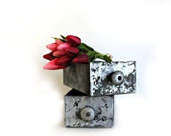 vintage industrial galvanized drawers, industrial storage, country chic, succulent planter