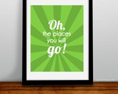 Dr. Suess Oh Places You'll Go Art Print - Wall Art - Poster Baby Room - Stripe Custom Color funny childrens Print