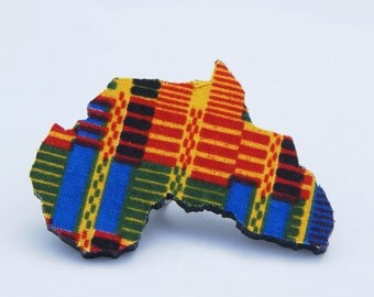 Fabric Covered Ring Wood Africa Ring - Kente African Jewelry Afrocentric Jewelry