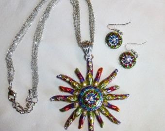 Star Sun Necklace Earring Set Vintage Multi Colored Enameled Rainbow Enamel Diamond Rhinestones Multi Silver Chain