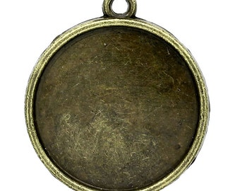 8 Cabochon Frames  - Antique Bronze - Fits 20mm - 26x23mm - Ships IMMEDIATELY from California - BC777
