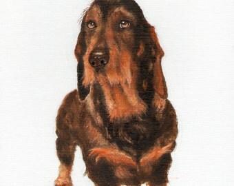 New Original Oil DOG Portrait Painting DACHSHUND Art Puppy Artist Signed Artwork