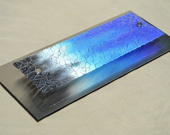 Fused Glass Cobalt Blue Crackle - Made to Order- Mounted on Stainless Steel