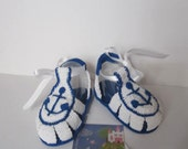 Crochet Nautical Baby Shoes Nautical Blue Baby Sandals Nautical Baby Booties Boys Sandals Anchor Navy Sailor Shoes Anchor Baby Booties