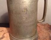 Vintage silver plated military presentation mug cup stein