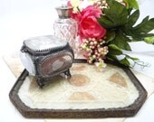 1920's French Dresser Tray, Antique Handmade Lace between Glass