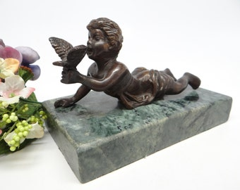 Antique Bronze Boy with Bird,  Sculpture Statue on Green Marble Base