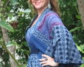 Womens Kimono Wrap In Hmong Indigo Batik And Handwoven Tai Lue Textiles - Ingrid