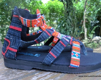 Boho Gladiator Womens Sandals In Tangerine Hmong Embroidery And Indigo Batik Vegan Summer Shoes - Isadora