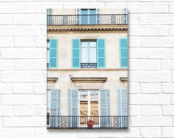 Paris Photography on Canvas - Blue Shutters,  Gallery Wrapped Canvas, Large Wall Art, Travel Architecture, Urban Home Decor, Large Wall Art