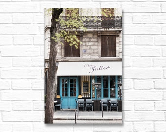 Paris Photograph on Canvas - Cafe Julien, Gallery Wrapped Canvas, Paris Cafe, Blue Door, Large Wall Art, Urban Decor