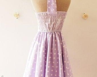 READY TO SHIP- Summer Dress -The Circus Party Dress - Pastel Purple Lavender Dress Halter Vintage Bridesmaid Dress Fancy dress ,Size S