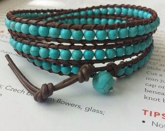 Beaded turquoise wrapped bracelet