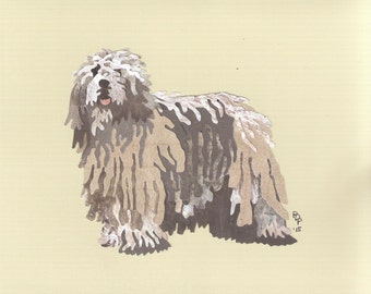 Bergamasco handmade original cut paper collage dog art
