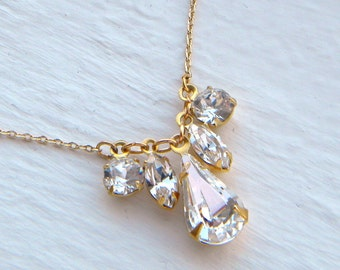 Swarovski Crystal Teardrop Layering Necklace