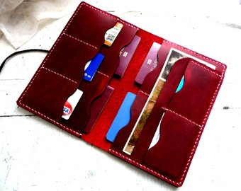Large red leather passport wallet, family passport wallet, travel wallet, passport case, family passport holder