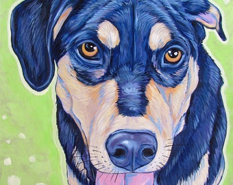 """8"""" x 8"""" Custom Pet Portrait Painting in Acrylic on Ready to Hang Canvas of One Dog, Cat, Other Animal OOAK Personalized Pet Art or Memorial"""