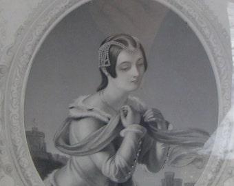 1800s Engraving The High-born Ladye S. Hart RA Engraving by J Thomson Framed