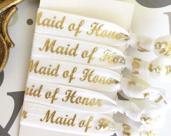 White Maid of Honor elastic hair tie, Maid of Honor gift, Maid of Honor thank you, Maid of Honor favor, Will you be my Maid of Honor, bridal